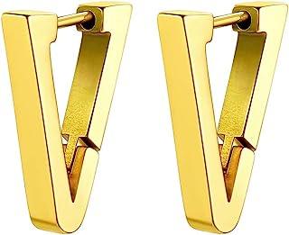 GoldChic 珠宝 1-4 对朋克耳环男士,*钢质时髦哥特小尖头/三角形/八角形/叶片/螺丝/圆形环状Huggie耳环,敏感耳朵防*,含礼品盒
