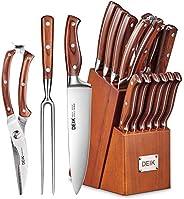 Deik 刀具套装,高碳不锈钢厨房刀具套装 16 件,超锋利刀具,带雕刻叉子和锯齿牛排刀