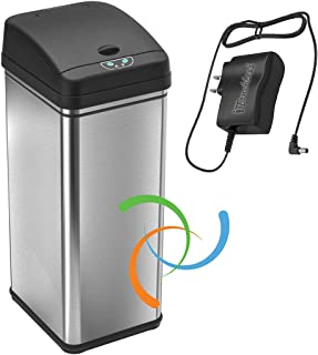 iTouchless 13加仑不锈钢自动垃圾桶,带异味控制系统,大盖开启传感器,厨房无触摸式垃圾桶 Black and Stainless Steel, 1 Ac Adapter 13 Gallon DZT13WAC