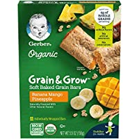 Gerber Up Age Organic Grain & Grow Soft Baked Grain Bars Banana Mango Pineapple, 8Count