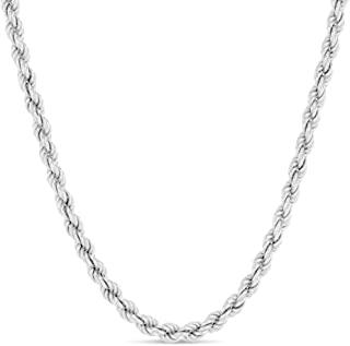 Verona Jewelers 纯银钻石切割厚绳链项链 4.8MM,6.5 毫米 - 925 编织扭纹意大利项链