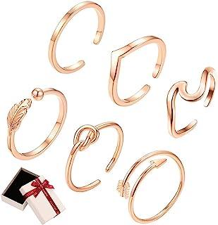 Xihuimay 6 件朋克戒指叶箭头结环关节指环套装珠宝指环套装袖口尾关节指环套装堆叠环可调节戒指波西米亚戒指女士女孩礼物,玫瑰金