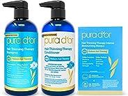 Pura d'or 防脱发优质有机洗发水,棕色和蓝色,