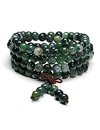 jovivi 6mm 8mm 藏佛教自然藓纹玛瑙颗宝石*宝石108MALA 诵经珠弹性手链项链  8mm Beads