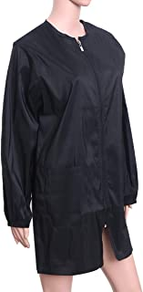 Lurrose 沙龙长袍理发师工作围裙防水发型师拉链罩适用于沙龙*师- L 码
