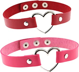 Bersteag 紫色和红色领皮革爱型链颈链 可调节适合女性游戏道具