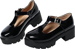 Alsoloveu 女式 T 型绑带玛丽珍厚底粗跟鞋漆皮圆头