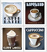 20 张邮票小册子,特色浓咖啡饮料,4 种独特设计 - Café au Lait、Mocha au Lait、Espresso 和 Cappuccino (5 张)