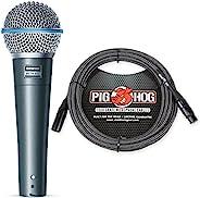 Shure Beta 58A Supercardioid Vocal 麦克风 & Pig Hog 黑色和白色编织麦克风电缆,20ft XLR