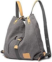 Kono 女士帆布手提包,背包,女士单肩包,购物包,复古 Hobo 单肩包,适用于工作、上学和旅行 灰色 L