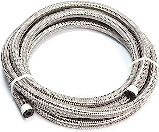 "LTI 20FT 通用 4AN 1/4"" CPE 油/气/燃油管软管不锈钢编织(-AN4 银色)"