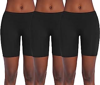 Ekouaer 女式长腿平角内裤,无缝滑动短裤,平角短裤,骑行短裤,3 件装