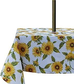 SUQ I OME 优雅摩洛哥户外桌布涤纶织物桌布,带拉链伞孔,适用于庭院花园桌面装饰(向日葵,152.4 厘米 x 21.2 厘米方形带拉链)