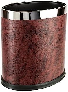 Brelso 优质人造革垃圾桶,小型办公室废料篮,现代家居装饰,椭圆形 *红色 DO-bur-27-N