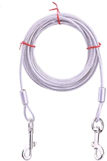 Hangqifeng 10 英尺(约 3.0 米)长狗狗牵引绳 - 重型带绳适用于体重不超过 60 磅(约 29.5 公斤)的狗狗 - 狗屋、狗狗训练、宠物用品、配件、镀铬铁锈