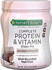 Nature's Bounty 自然之寶 Optimal Solutions 蛋白質奶昔巧克力味,16盎司每罐(約453.6克),蛋白質和維生素復合奶昔,為女士設計,