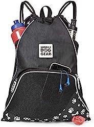 狗狗移动装备,Dogssentials 抽绳袋旅行袋,携带物品,适合您和爱犬,包括 1 个垃圾袋卷 Black/White Paw Bone Print
