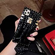 BABEMALL 兼容 iPhone 12 / iPhone 12 PRO 6.1 英寸手机壳,优雅奢华装饰角方形 PU 皮革鳄鱼 TPU 缓冲保护套 + 挂绳(黑色)