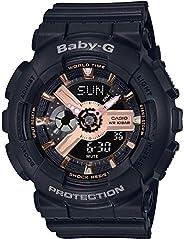 CASIO 卡西欧 女士模拟数字石英手表 树脂表带BA-110RG-1AER黑色,