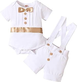 男婴洗礼服装绅士蝴蝶结连衫裤背带裤生日婚礼派对燕尾服套装服装
