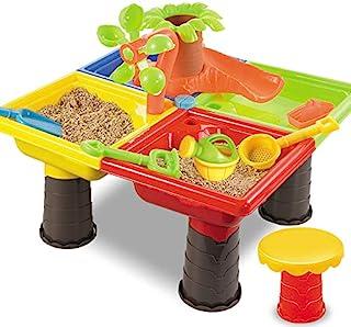 TEMI 儿童沙滩沙玩具套装,带活动沙水桌,水上公园儿童户外玩具创造夏季乐趣,存储沙箱桌玩带椅子,树水滑板,模具,桶和铲子(树形)