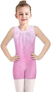 Boyoo 女孩体操紧身连衣裤闪亮钻石儿童芭蕾舞蹈紧身衣裤一件式带短裤,适合年龄 3-10 岁