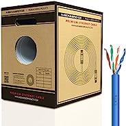 Mediabridge 纯铜 Cat6 电缆(500 英尺,蓝色) - 10Gbps 以太网,实心,壁式额定,带高级无钩抽出盒 - (部件号 C6-500-蓝色)
