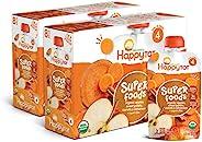 Happy Tot Organic 阶段4苹果,红薯,胡萝卜&肉桂 + Super Chia,4.22盎司袋装,120克,16包(包装可能有所不同),Non-GMO,无麸质,3g维生素A和C的纤维来源
