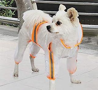 宠物狗雨衣 宠物防水衣服带兜帽 轻便透明夹克雨衣 宠物雨衣 适合小型中型犬 小号