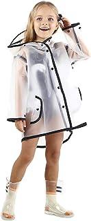 PERTTY 儿童雨衣耐用半透明雨披风便携式连帽雨披风雨衣 适合学步儿童男孩女孩