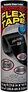 Flex Tape Rubberized Waterproof Tape, 12 inches x 10 feet, Black