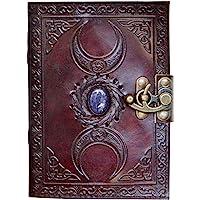 Blank Spell Book of Shadows 日記本帶鎖扣道具復古手工皮革三眼石日記浮雕三月祈禱異教徒無襯里紙巫術巫術筆記本每日 17.78 x 12.7 厘米。