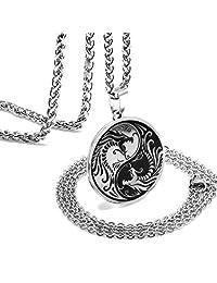 ZONICTA 龙阴阳项链 男式 - 珠宝不锈钢护身吊坠项链带礼品袋 亮灰色