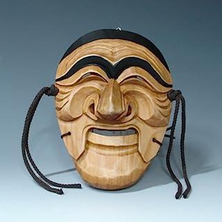 手工雕刻韩版 Hahoe Man Dance Smile 木制墙饰 装饰板 艺术装饰 悬挂 亚洲面具