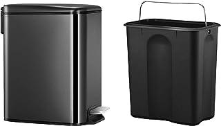 超薄黑色不锈钢垃圾桶带盖子柔软闭合和可拆卸内箱,矩形小垃圾桶,适用于浴室卧室办公室,防指纹饰面,5L / 1.3 加仑