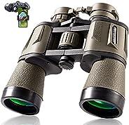 20x50 成人狩猎双筒望远镜,带智能手机适配器,28 毫米目镜,高功率专业双筒望远镜,适用于观鸟、徒步、观光、旅游运动音乐会,带 BAK4 棱镜 FMC 镜、泥浆