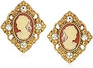 1928 Jewelry 女式 14K 金浸渍浮雕和水晶装饰夹耳环,橙色,均码