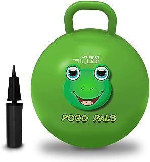 Flybar My First Pogo Pals 儿童摇铃球 - 带手柄的弹性球,儿童平衡球,适合 3 岁及以上儿童使用,包括气泵 中 青蛙绿