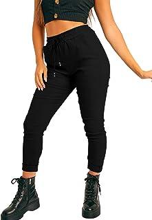 YMDUCH 女式性感抽绳腰带休闲弹力紧身九分裤带口袋