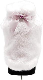 Trilly Tutti Brilli 人造皮毛和毛绒大衣,缎带带施华洛世奇装饰,粉红色,S/M – 1产品