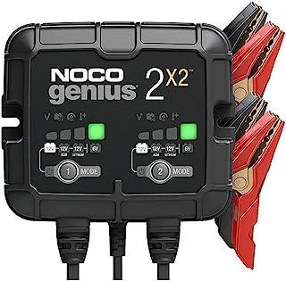 NOCO GENIUS2X2,4 安培(每组 2 安培)全自动智能、6V 和 12V 电池充电装置、电池保持器、涓流充电器和带温度补偿的电瓶再生器