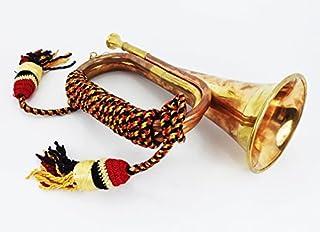 男孩侦察黄铜和铜发光 Bugle Attack 战争指挥信号喇叭 26.7 cm 带漂亮的彩色绳子绑带