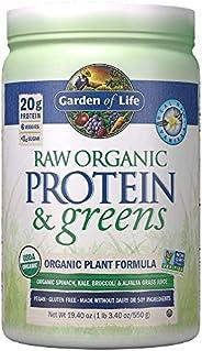 Garden of Life 生命花園 蔬菜和蛋白質粉,未經加工的蛋白質和蔬菜,含有益生菌/酶,素食,不含麩質,香草味,19.3盎司(548g)
