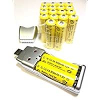 20x AA 太陽能電池電池批量充電 Ni-Cd 800mAh 1.2V + USB 充電器4351481543 20 x AA 800mah & Charger