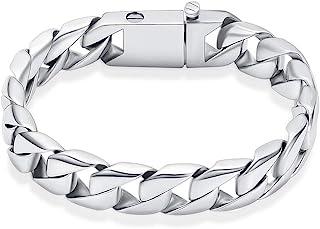 Hremation Urn 男士手链,银古巴链手链,用于灰烬的火葬首饰,纪念灰烬手链,纪念灰烬手链。