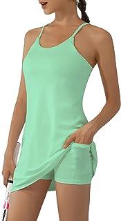 女式健身连衣裙,无袖内置文胸和短裤口袋运动服网球连衣裙