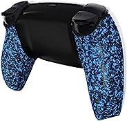 eXtremeRate 纹理蓝色底壳适用于 DualSense 5 控制器,舒适防滑背壳,3D 防溅保护套,适用于 Playstation 5 控制器的游戏改进更换部件