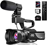 4K 視頻攝像機攝像機帶麥克風 48MP Vlogging 攝像機 WiFi YouTube 攝像機 紅外夜視 3 英寸觸摸屏 30X 數碼變焦攝像機錄像機,帶 360° 無線遙控和鏡頭罩