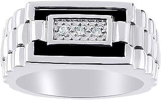 RYLOS 设计师戒指镶嵌钻石和真正的黑玛瑙镶嵌纯银925
