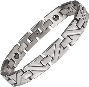Wollet 不锈钢磁疗手镯 男士*缓解按摩肌肉放松 带磁铁 锗 适用于*男士/女士 22厘米